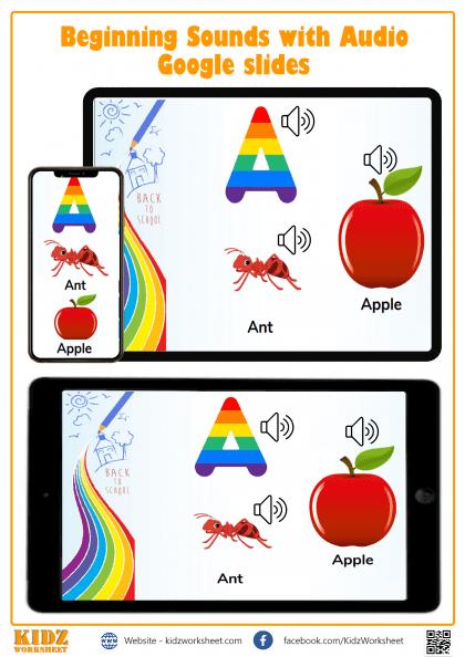 Alphabet Sounds Digital Worksheet, Google Slides.