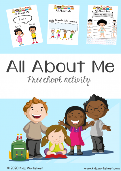 """""""All about me"""" Printable colorful activity worksheet for Pre-schoolers and kindergarten"""