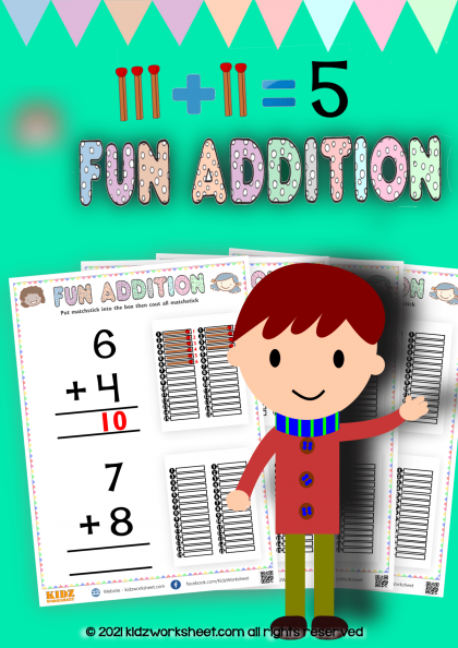 Learn Addition with fun Addition with matchstick worksheet
